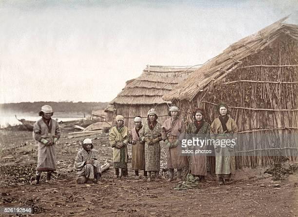 Aino women group in Monbetsu on Hokkaido island Ca 1880