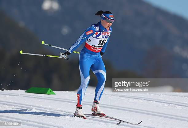 Aino-Kaisa Saarinen of Finland in action during the Women's Cross Country Mass Start 30Km at the FIS Nordic World Ski Championships on March 2, 2013...