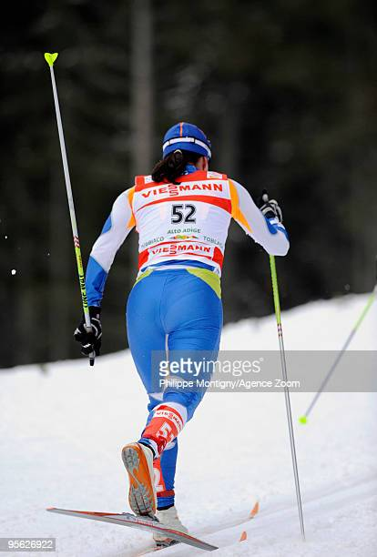AinoKaisa Saarinen of Finland takes 2nd place during the Women's of the FIS Tour De Ski on January 7 2010 in Toblach Hochpustertal Italy