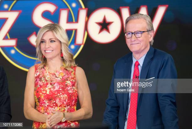 Ainsley Earhardt and Steve Doocy are seen on the set of FOX Friends at FOX Studios on December 10 2018 in New York City