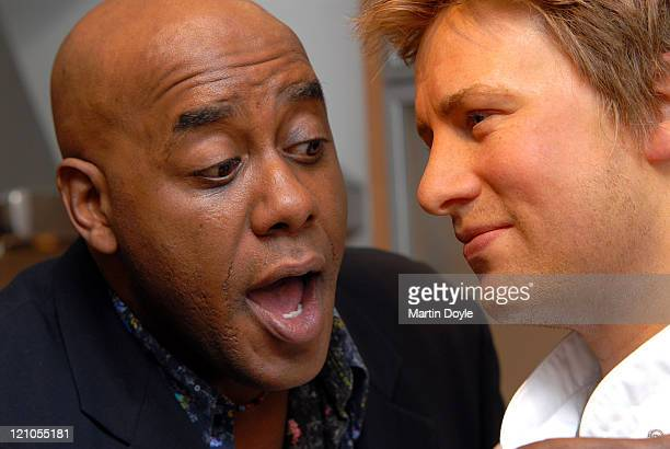Ainsley Harriot with Jamie Oliver waxwork during Daily Mail Ideal Home Show Opening Day at Earls Court in London Great Britain