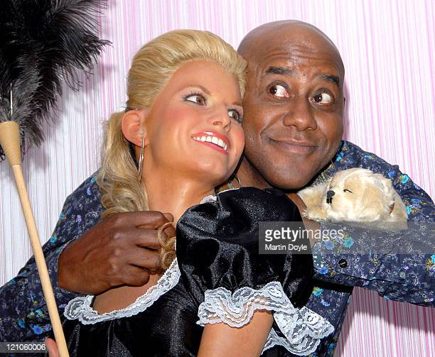 Ainsley Harriot with Jessica Simpson during Daily Mail Ideal Home Show Opening Day at Earls Court in London Great Britain