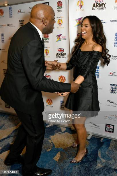 Ainsley Harriott and SarahJane Crawford attend The British Ethnic Diversity Sports Awards at The Grosvenor House Hotel on March 24 2018 in London...
