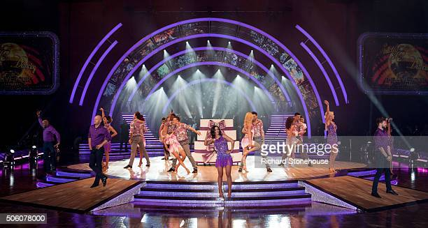 Ainsley Harriott Jake Wood Frankie Bridge and Jay McGuiness dance at the front of the stage during the opening performance of the photocall for the...