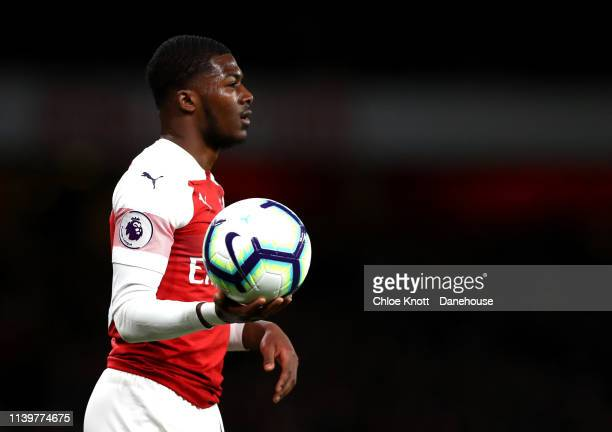 Ainsley Maitland Niles of Arsenal during the Premier League match between Arsenal FC and Newcastle United at Emirates Stadium on April 01 2019 in...