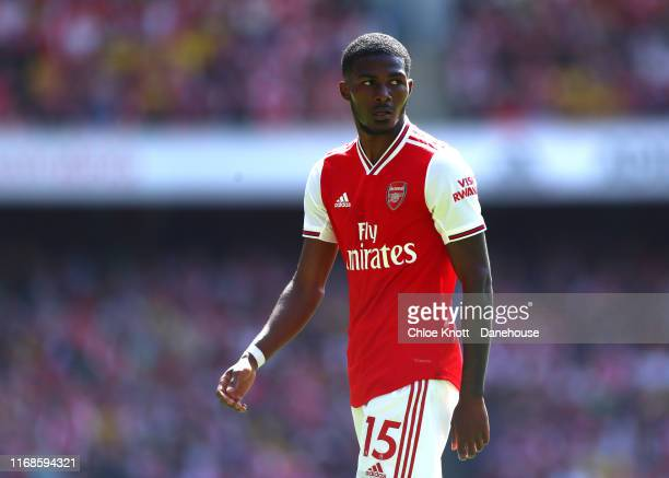 Ainsley Maitland Niles of Arsenal during the Premier League match between Arsenal FC and Burnley FC at Emirates Stadium on August 17 2019 in London...