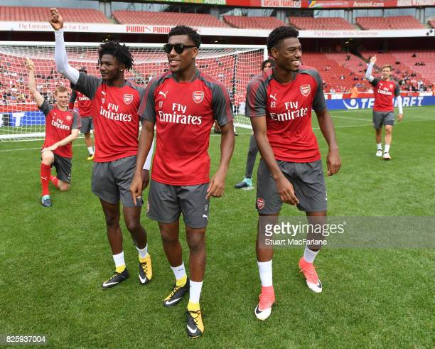 Ainsley MaitlandNiles Alex Iwobi and Jeff ReineAdelaide as the Arsenal 1st team take on the Jnr Gunners after a training session at Emirates Stadium...