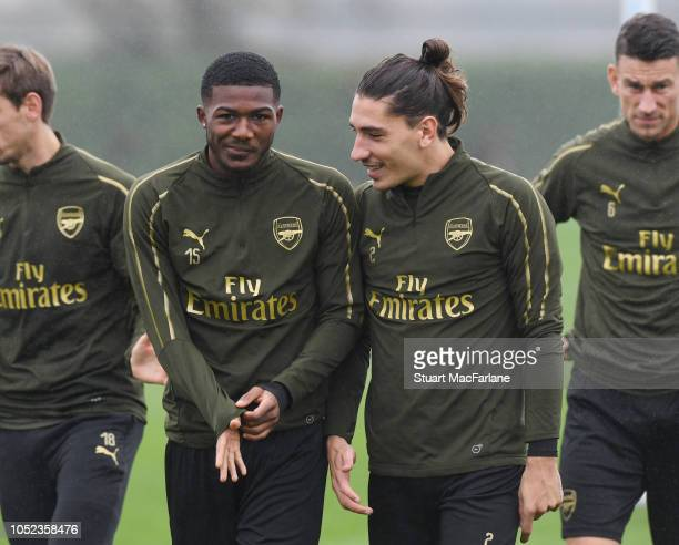 Ainsley maitlandNiles and Hector Bellerin of Arsenal during a training session at London Colney on October 17 2018 in St Albans England