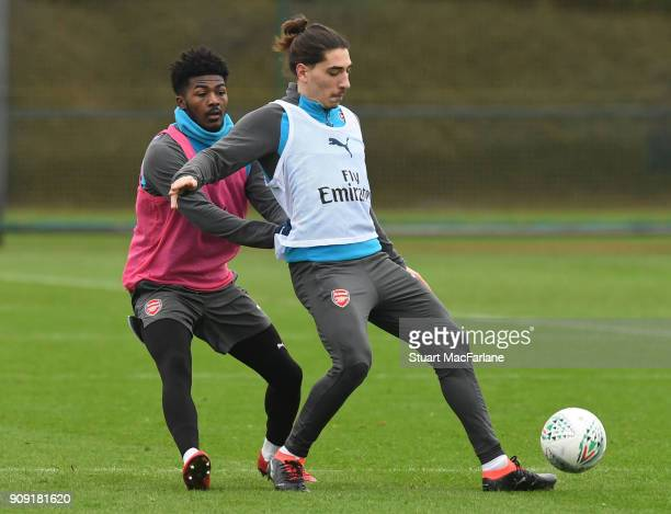 Ainsley MaitlandNiles and Hector Bellerin of Arsenal during a training session at London Colney on January 23 2018 in St Albans England
