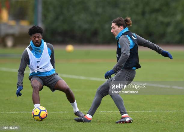 Ainsley MaitlandNiles and Hector Bellerin of Arsenal during a training session at the London Colney on February 9 2018 in St Albans United Kingdom
