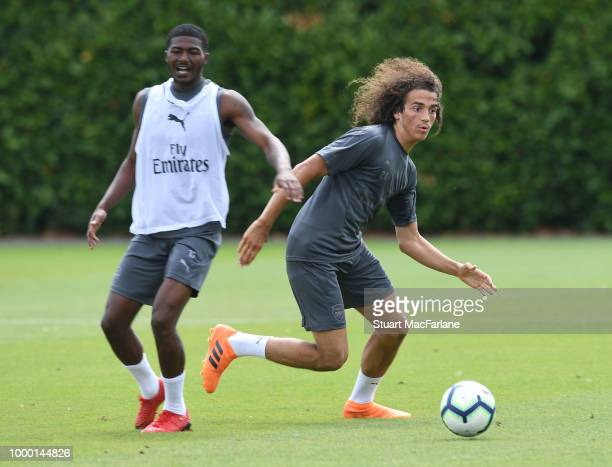 Ainsley MaitlandNiles and Matteo Guendouzi of Arsenal during a training session at London Colney on July 16 2018 in St Albans England