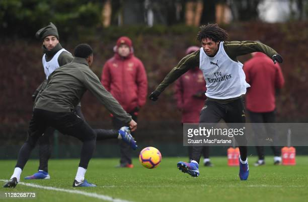 Ainsley MaitlandNiles and Mo Elneny of Arsenal during a training session at London Colney on February 08 2019 in St Albans England