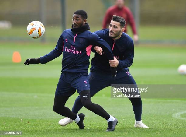 Ainsley MaitlandNiles and Sead Kolasinac of Arsenal during a training session at London Colney on November 7 2018 in St Albans United Kingdom