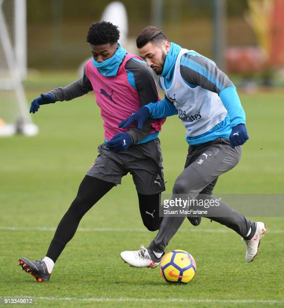 Ainsley MaitlandNiles and Sead Kolasinac of Arsenal during a training session at London Colney on February 2 2018 in St Albans England