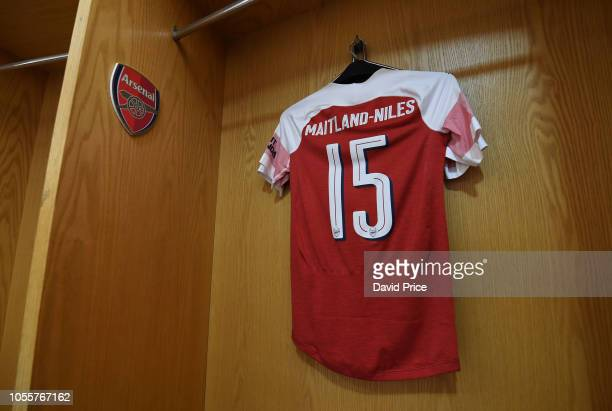 Ainsley MaitlandNiles Arsenal shirt in the changingroom before the Carabao Cup Fourth Round match between Arsenal and Blackpool at Emirates Stadium...