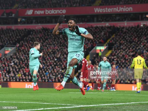 Ainsley MaitlandNiles celebrates scoring the Arsenal goal during the Premier League match between Liverpool FC and Arsenal FC at Anfield on December...