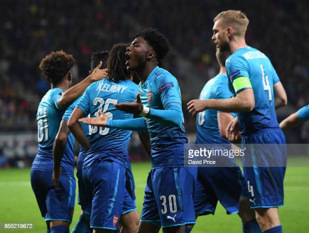 Ainsley MaitlandNiles celebrates the first Arsenal goal during the UEFA Europa League group H match between BATE Borisov and Arsenal FC at...
