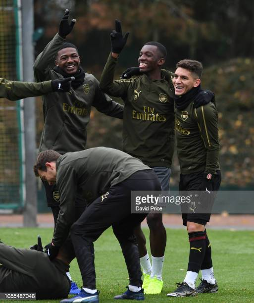 Ainsley MaitlandNiles Eddie Nketiah and Lucas Torreira of Arsenal during the Arsenal Training Session at London Colney on October 30 2018 in St...