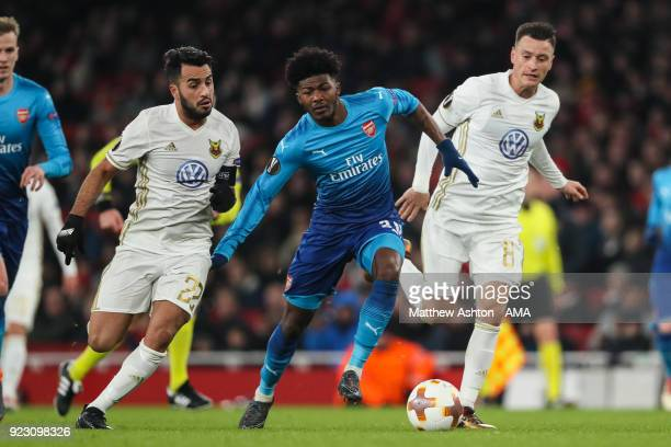 Ainsley MaitlandNiles of Arsenal and Brwa Nouri of Ostersunds FK during UEFA Europa League Round of 32 match between Arsenal and Ostersunds FK at the...
