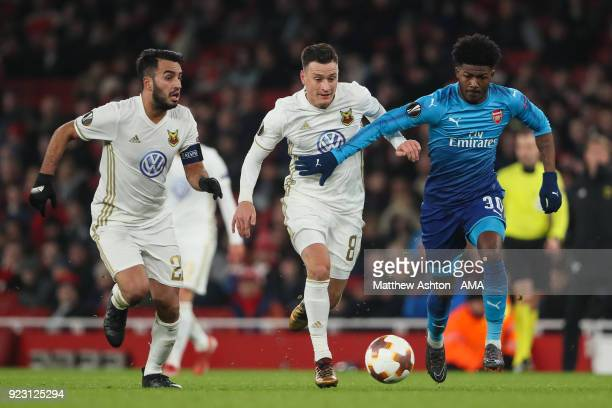 Ainsley MaitlandNiles of Arsenal and Jamie Hopcutt of Ostersunds FK during UEFA Europa League Round of 32 match between Arsenal and Ostersunds FK at...