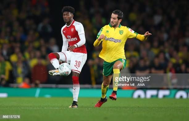 Ainsley MaitlandNiles of Arsenal and Mario Vrancic of Norwich City during the Carabao Cup Fourth Round match between Arsenal and Norwich City at...