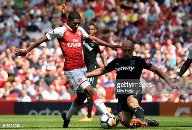 Ainsley MaitlandNiles of Arsenal and Pablo Zabaleta of West Ham United during the Premier League match between Arsenal and West Ham United at...