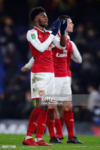 Ainsley MaitlandNiles of Arsenal applauds the crowd after the Carabao Cup SemiFinal First Leg match between Chelsea and Arsenal at Stamford Bridge on...