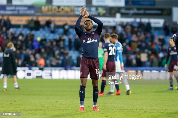 Ainsley MaitlandNiles of Arsenal applauds the fans after the Premier League match between Huddersfield Town and Arsenal FC at John Smith's Stadium on...