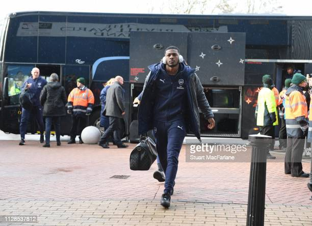 Ainsley MaitlandNiles of Arsenal arrives at the John Smith's Stadium before the Premier League match between Huddersfield Town and Arsenal FC on...