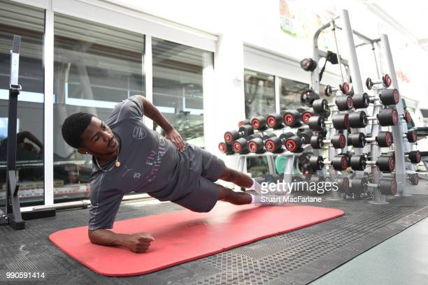 Ainsley MaitlandNiles of Arsenal attends a medical screening session at London Colney on July 3 2018 in St Albans England
