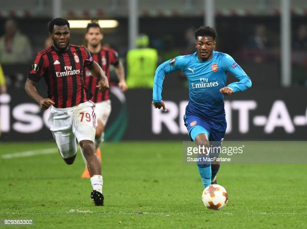 Ainsley MaitlandNiles of Arsenal breaks past Franck Kessie of Milan during UEFA Europa League Round of 16 match between AC Milan and Arsenal at the...