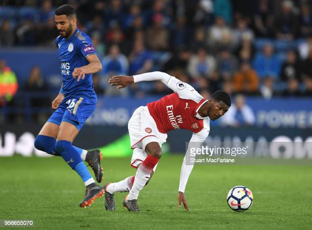 Ainsley MaitlandNiles of Arsenal breaks past Riyad Mahrez of Leicester during the Premier League match between Leicester City and Arsenal at The King...