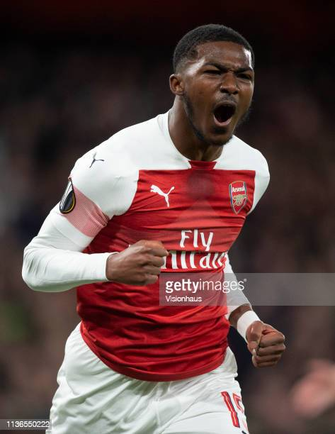 Ainsley MaitlandNiles of Arsenal celebrates his goal during the UEFA Europa League Round of 16 Second Leg match between Arsenal and Stade Rennais at...