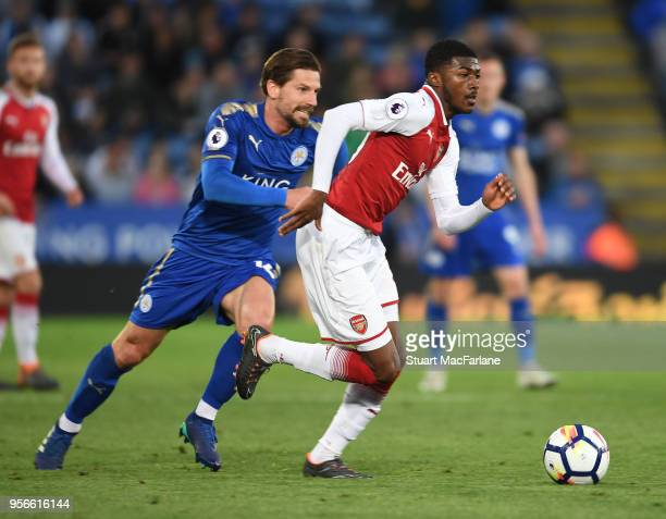 Ainsley MaitlandNiles of Arsenal challenged by Adrien Silva of Leicester during the Premier League match between Leicester City and Arsenal at The...