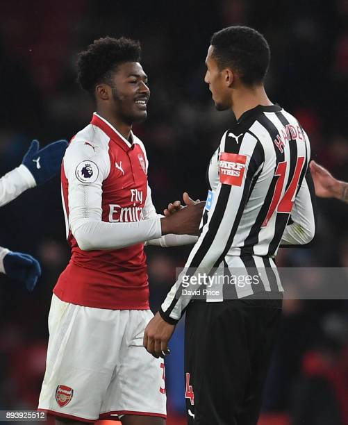 Ainsley MaitlandNiles of Arsenal chats to Isaac Hayden of Newcastle after the Premier League match between Arsenal and Newcastle United at Emirates...