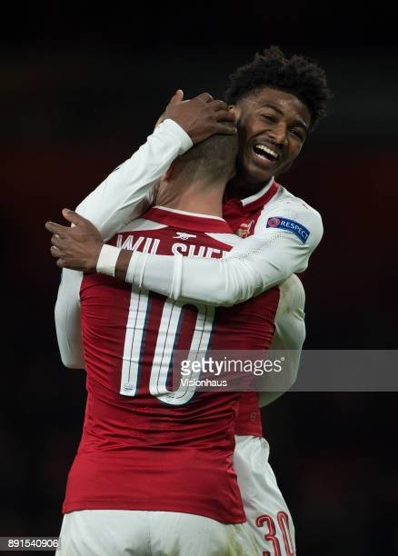 Ainsley MaitlandNiles of Arsenal congratulates team mate Jack Wilshere after scoring during the UEFA Europa League group H match between Arsenal FC...