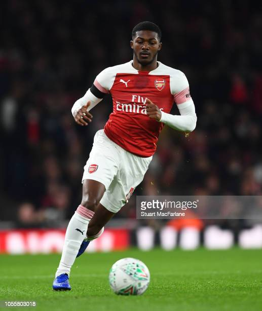 Ainsley MaitlandNiles of Arsenal controls the ball during the Carabao Cup Fourth Round match between Arsenal and Blackpool at Emirates Stadium on...