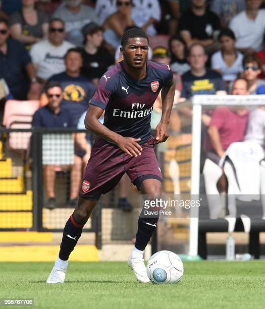 Ainsley MaitlandNiles of Arsenal controls the ball during the match between Borehamwood and Arsenal at Meadow Park on July 14 2018 in Borehamwood...