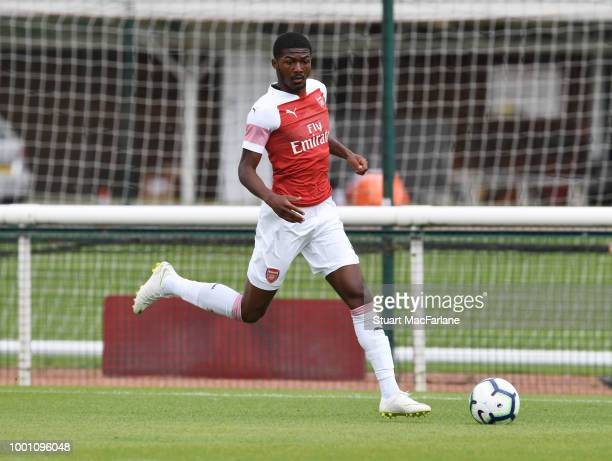 Ainsley Maitland-Niles of Arsenal during a pre season friendley between Arsenal and Crawley Town at London Colney on July 18, 2018 in St Albans,...