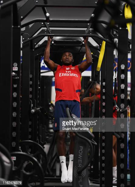 Ainsley MaitlandNiles of Arsenal during a training session at Dignity Health Sports Park on July 16 2019 in Los Angeles California