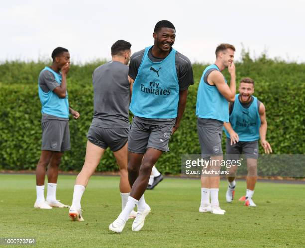 Ainsley MaitlandNiles of Arsenal during a training session at London Colney on July 16 2018 in St Albans England