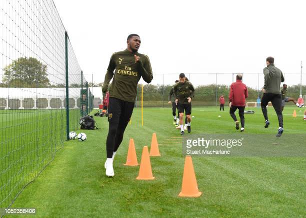Ainsley MaitlandNiles of Arsenal during a training session at London Colney on October 17 2018 in St Albans England