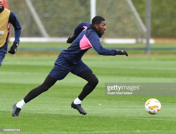 Ainsley MaitlandNiles of Arsenal during a training session at London Colney on November 7 2018 in St Albans United Kingdom