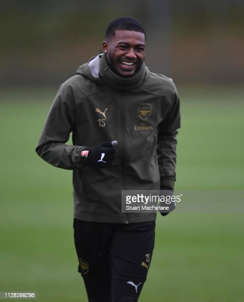 Ainsley MaitlandNiles of Arsenal during a training session at London Colney on February 08 2019 in St Albans England