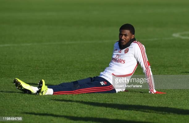 Ainsley MaitlandNiles of Arsenal during a training session at London Colney on January 09 2020 in St Albans England