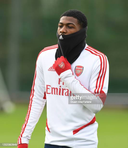 Ainsley Maitland-Niles of Arsenal during a training session at London Colney on January 26, 2020 in St Albans, England.