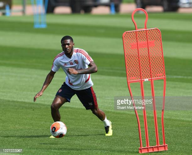 Ainsley MaitlandNiles of Arsenal during a training session at London Colney on May 26 2020 in St Albans England