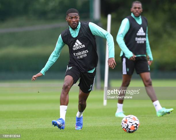 Ainsley Maitland-Niles of Arsenal during a training session at London Colney on July 30, 2021 in St Albans, England.