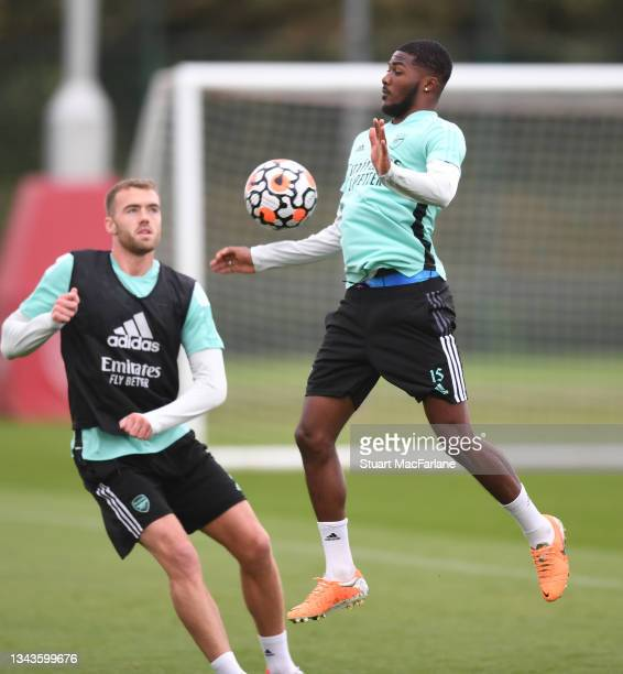 Ainsley Maitland-Niles of Arsenal during a training session at London Colney on September 28, 2021 in St Albans, England.