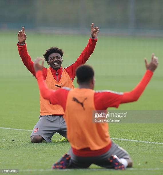 Ainsley Maitland-Niles of Arsenal during a training session at London Colney on November 3, 2016 in St Albans, England.